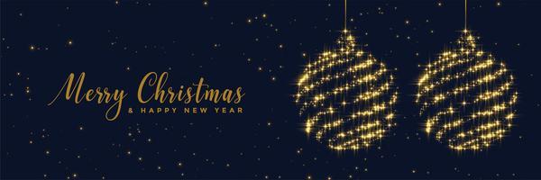 glanzende sparkles kerstballen banner ontwerp