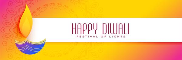 vibrante diwali banner colorato con arte diya