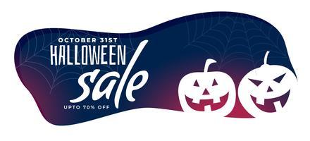 banner de venta de halloween con estilo con calabazas espeluznantes