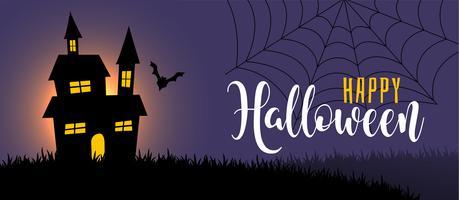 cena da noite de halloween com casa e morcego