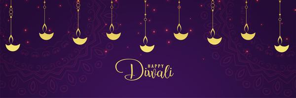 happy diwali golden diya and purple background