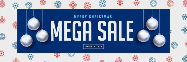 mega kerst verkoop banner met zilveren hangende ballen