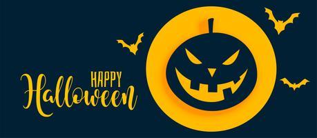 elegante bandeira de halloween feliz com abóbora e fantasma