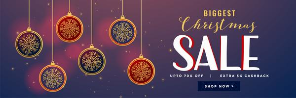 hanging christmas balls decoration sale banner design