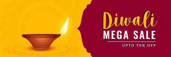 Happy Diwali Sale Banner mit realistischen Diya