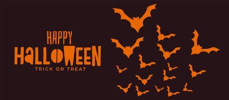 banner de halloween assustador com morcegos voando