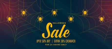Fondo de venta de halloween con tela de araña