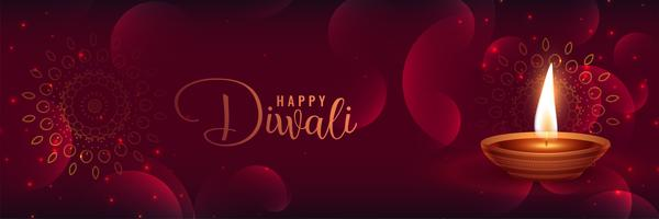 beautiful shiny diwali banner with featival diya