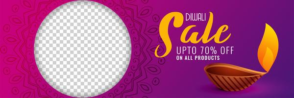 Banner de venta de diwali feliz con estilo con espacio de imagen