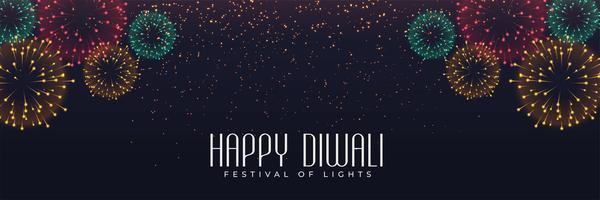 Festival de fuegos artificiales banner para diwali