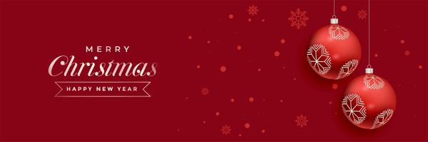 red christmas balls decoration banner design