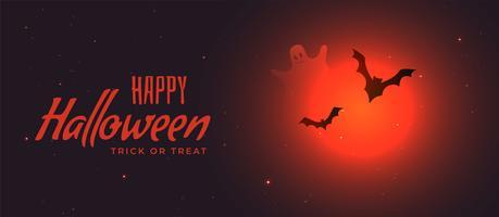 banner de halloween espeluznante con luna roja y murciélagos volando