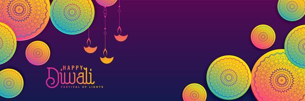 sfondo creativo di diwali banner in colori vivaci