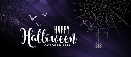 enge halloween-achtergrond met vleermuizen en spinnenweb
