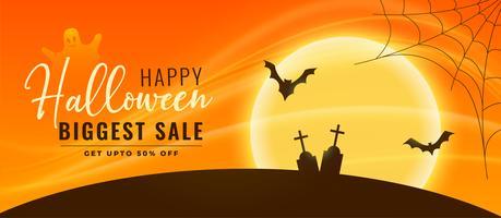 Banner de venta de Halloween con murciélagos y cementerio volando