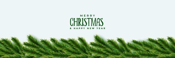 elegant christmas tree green leaves banner design