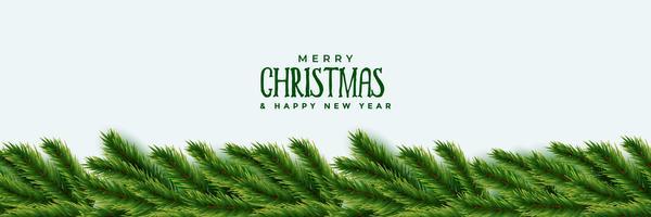 elegante árbol de navidad hojas verdes diseño de banner