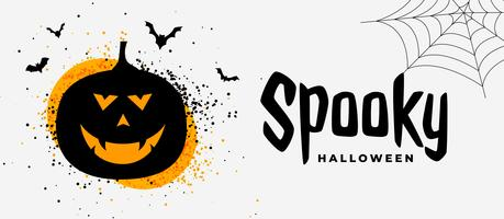 bannière d'halloween effrayant avec sourire fantôme de citrouille