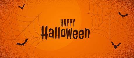 banner de halloween assustador de laranja com teia de aranha e morcegos voando