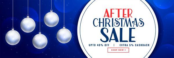 efter julförsäljning banner design med julkulor