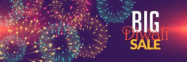 Diseño de fondo de venta de fuegos artificiales de Diwali