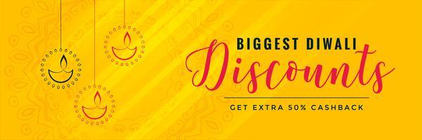 Diseño de banner amarillo de diwali descuento