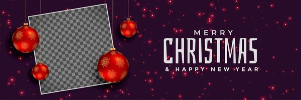 merry christmas red balls banner design