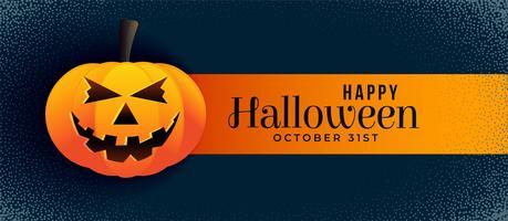 banner de halloween espeluznante con calabaza sonriente
