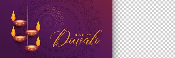 elegante banner festival di diwali con spazio immagine