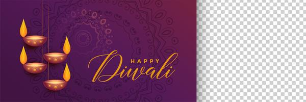 stylish diwali festival banner with image space