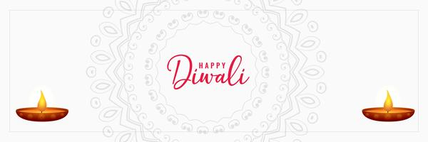 elegant happy diwali white banner design