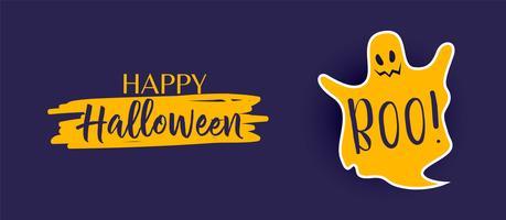 banner de halloween feliz con lindo fantasma