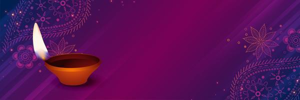 glückliches diwali diya auf purpurrotem dekorativem Hintergrund