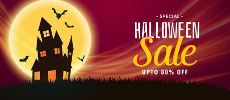 spooky halloween sale banner with haunted house and flying bats