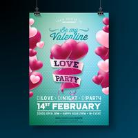 Conception de flyer fête de vecteur Saint Valentin Love Party