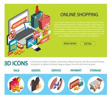 illustration of info graphic online shopping set concept