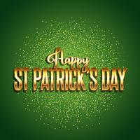 St Patrick's Day background with gold text  vector