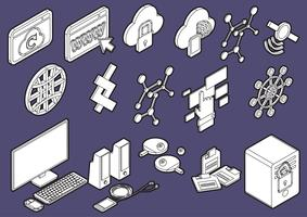 Ilustración de la información gráfica iconos de computadora establece el concepto