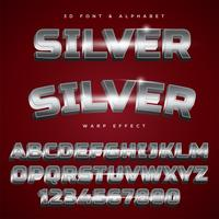 3D Silver Stylized Lettering Text, Font & Alphabet vector