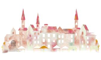 Watercolor European townscape.