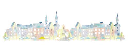 Watercolor European townscape.
