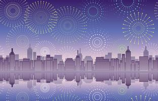Seamless cityscape with celebration fireworks. vector