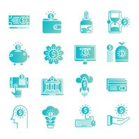 Conjunto de ícones de gradiente de dinheiro