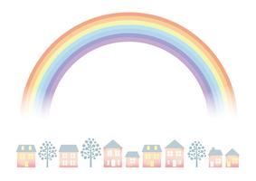 Pastel-colored townscape with the rainbow.