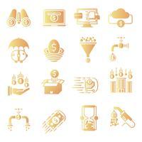 Conjunto de ícones de gradiente de fluxo de dinheiro