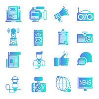 Conjunto de ícones de gradiente de notícias