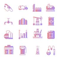 Oil industry gradient icons set