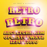 3D Retro Stylized Lettering Text, Font & Alphabet vector