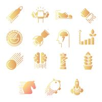 Performance gradient icons set vector