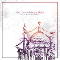 Hand Drawn Mosque Sketch Illustration.